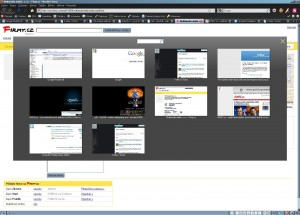 Thumbnails of opened tabs in Firefox with search box